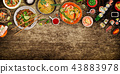Various of asian meals on rustic background , top view , place for text. 43883978