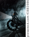 High power motorcycle chopper at night. 43883986