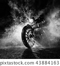 High power motorcycle chopper at night. 43884163