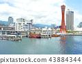 고베 포트 타워와 유람선 43884344