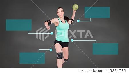 Handball woman with blank infographic chart panels 43884776