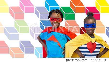Superhero children with colorful geometric pattern 43884801