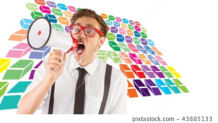 Geeky hipster man using megaphone with colorful geometric pattern 43885133
