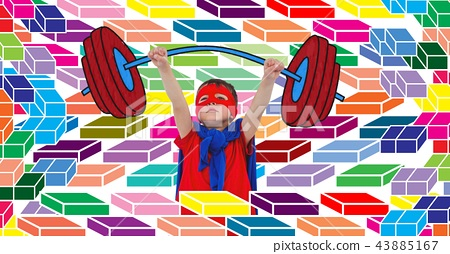 Superhero boy lifting weights with colorful geometric pattern 43885167