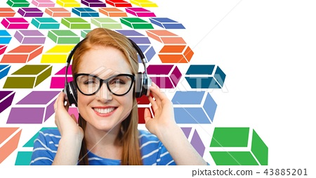 Happy woman wearing headphones with colorful geometric pattern 43885201