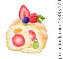 과일 롤 케이크 43885470