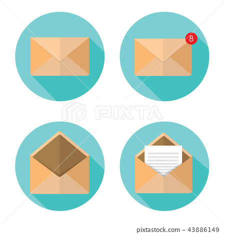 set of closed and open envelopes 43886149