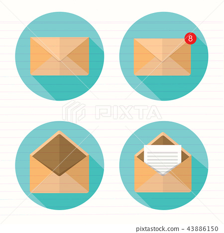 set of closed and open envelopes 43886150