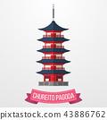 Chureito Pagoda icon on white background 43886762