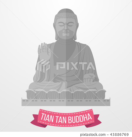 Tian Tan Buddha icon on white background 43886769