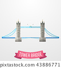 Tower Bridge icon on white background 43886771