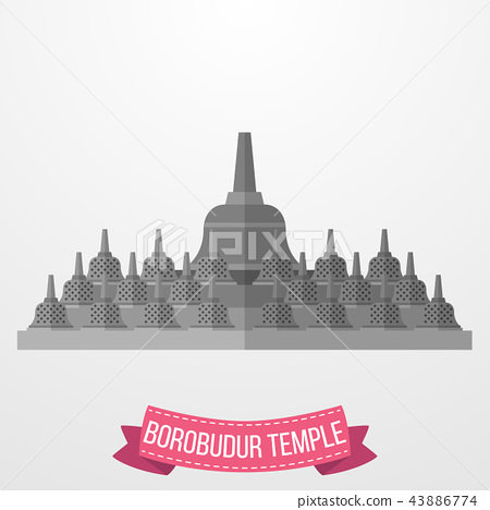 Borobudur Temple icon on white background 43886774