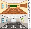 Modern empthy classroom background 43887767