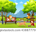 People and pet at park 43887779