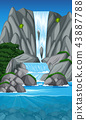 Beautiful waterfall landscape scene 43887788