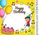 birthday, card, happy 43887842