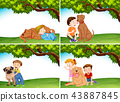 Set of children and dogs 43887845