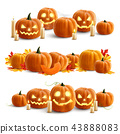 Pumpkins And Candles Realistic Compositions 43888083