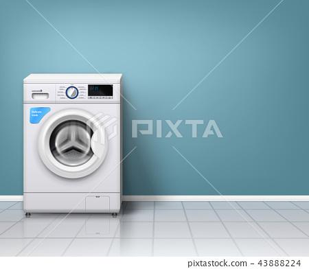 Realistic Washing Machine Background 43888224
