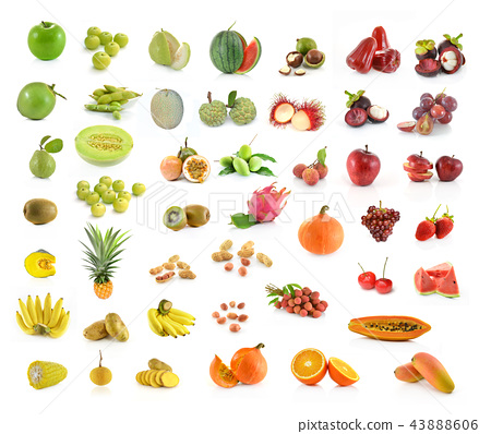 collection of fruit isolated on white background 43888606