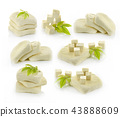 tofu cheese on white background 43888609