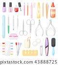 Manicure vector pedicure and manicuring accessory or tools nail-file or scissors of manicurist in 43888725