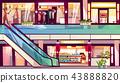 Mall shops escalator staircase vector illustration 43888820