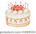 생일 & 크리스마스 케이크 수채화 일러스트 43889563