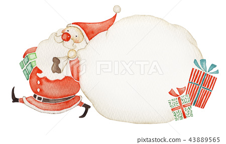 Santa claus christmas message card watercolor illustration 43889565