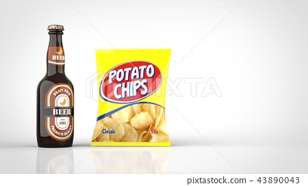 Beer and potato chips left 43890043