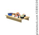 sushi, Asian, wooden 43890104
