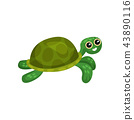 Flat vector icon of swimming green turtle. Sea animal with shell. Adorable marine reptile 43890116