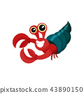 Flat vector icon of red hermit crab with shell. Smiling marine animal with big claws and shiny eyes 43890150