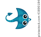Cartoon icon of blue manta ray with long tail. Cute sea animal. Underwater life. Flat vector for 43890184