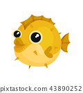 Adorable yellow blowfish with big shiny eyes. Exotic sea animal. Underwater life theme. Flat vector 43890252