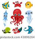 Flat vector set of different ocean animals. Marine creatures with shiny eyes. Fish, octopus, sea 43890264