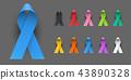 Realistic Colorful Awareness Ribbons 43890328