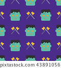 Halloween seamless pattern with ghost and axe 43891056