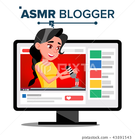 ASMR Blogger Channel Vector. Woman. Relax Effect. Insomnia Concept. Popular Video Streamer Blogger 43891543