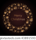 Wreath Snowflakes. New Year or Christmas Frame. 43891593