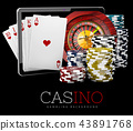 Casino Chips with Tablet, online casino concept, 3d Illustration of Casino Games Elements 43891768