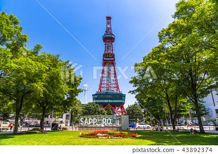 """""""北海道""""札幌電視塔和大通公園 43892374"""