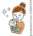 Illustration material: mother holding baby 43894434