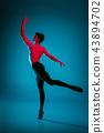 The male athletic ballet dancer performing dance on blue background. Studio shot. Ballet concept 43894702