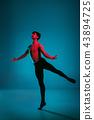 The male athletic ballet dancer performing dance on blue background. Studio shot. Ballet concept 43894725