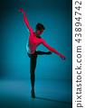 The male athletic ballet dancer performing dance on blue background. Studio shot. Ballet concept 43894742