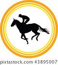 horse jockey silhouette 43895007