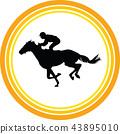 horse jockey silhouette 43895010