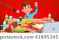 Mukbang Eating Show Vector. Guy. Food Challenge. Video Blog Channel. Illustration 43895345