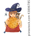 Fortuneteller Witch and Zombie Cat with Sunflower  43896785